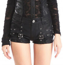 Black shorts synthetic leather with strap, gothic rock Pentagramme