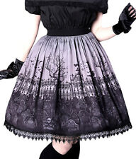 Skirt gray and black with impressions cemetery gothic lolita Restyle