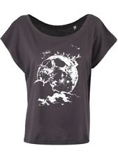 Cranial Moon Women's Anthracite Grey Scoop Neck Cropped T-shirt