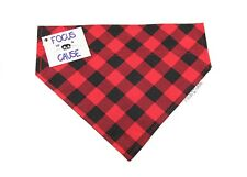 """Red Buffalo Plaid Dog Bandana """"Slide On Collar"""" Great Gift, by Focus for a Cause"""
