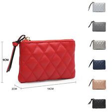 Woman Lady Synthetic Leather Small Mini Coin Purse Make up Diamond-Quilted Bag