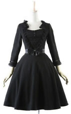 Black dress sober with belt knot and lace in the bust pyon Pyon Pyon