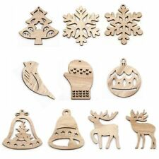 10PCS DIY Multi Tpye Natural Christmas Wooden Pendants Ornaments For Christmas P