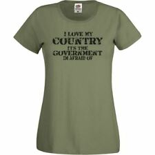 Ladies Olive Green Love my Country Government I'm Afraid of T-Shirt Shirt Female