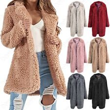 NEW WOMENS SOFT TEDDY FUR OVERSIZED OPEN COAT LADIES BORG SHEARLING LINED JACKET