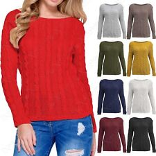 NEW WOMENS CABLE KNIT SHORT JUMPER LONG SLEEVE LADIES WARM KNITTED STRETCHY TOP