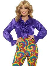 Satin Ruffle 60's Shirt Purple Women's Fancy Dress Costume