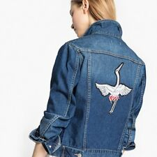 La Redoute Collections Womens Bird Patch Straight Denim Jacket