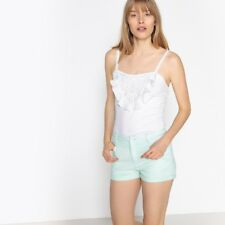 La Redoute Collections Womens Vest Top With Shoestring Straps And Ruffled,