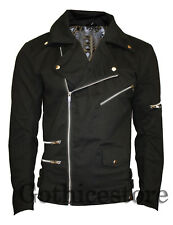 Gothic Motorcycle Military Jacket Mens Goth Band RIP Moto Biker Punk Coat Jacket