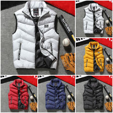 Mens Cotton Padded Detach Hooded Down Vest Jacket Warmer Gilet Quilted Coat Top