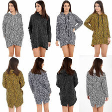 Ladies Women's Animal Leopard Print Hooded Jumper Long Sleeve Pullover