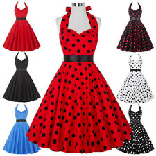 Dress Evening Pinup Retro Vintage Womens Party Swing Polka 50s 60s Plus 50's