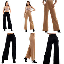 Womens Ladies Wide Leg palazzo Baggy Loose Casual Pocket Trousers Pant Size 8-14