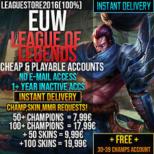 League of Legends Account LOL Euw Unranked Lvl 30 All Champs Smurf Skins Acc
