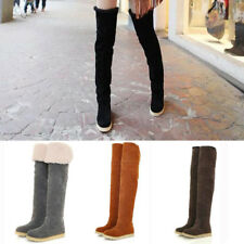Womens Ladies Suede Over The Knee Flat Heel Boots Thigh Sexy Warm Snow Shoes