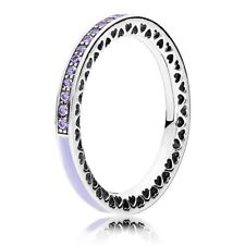 GENUINE PANDORA S925 ALE LILAC ZIRCONIA RADIANT HEARTS RING IN POUCH OR BOX