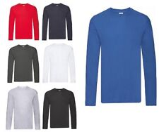 5 Pack Fruit of the Loom Men's Long Sleeve T-Shirt Cotton Original Plain Top Tee