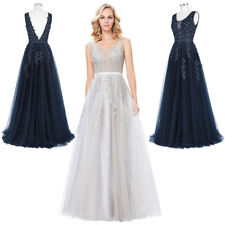 Evening Dress Prom Size Formal Deep Party Netting V-back Long 8 Bridesmaid Gown
