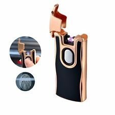 Usb Double Arc Lighter Fingerprint Touch Rechargeable Windproof Flameless Dual A