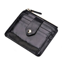 Retro Men's Boy Faux Leather Slim Money Clip Card Holder Coin Zip Wallet'