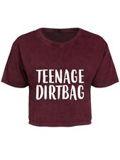 T-shirt Teenage Dirtbag Berry Acid Wash Oversized Cropped Women's Red