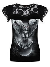 Spiral Top Wings Of Wisdom Lace Layered Cap Sleeve Women's Black