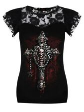 Spiral Top Death Bones Lace Layered Cap Sleeve Women's Black