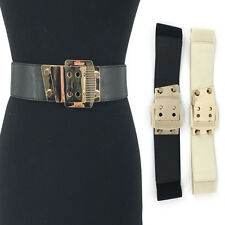 BLING Western Fashion ELASTIC stretch Waist Belt Gold Metal Hook Wide PU Leather