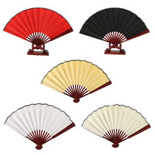 DIY Plain Hand Held Bamboo Silk Fabric Folding Fan Wedding Party Favor Props