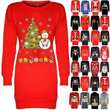 Womens Christmas Fleece Ladies Snowman Tree Xmas Sweatshirt Mini Jumper Dress