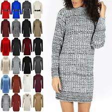 Ladies Pullover Cable Knit Top Womens Baggy Cowl Neck Sweater Mini Dress Jumper