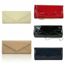 new women lady/'s patent evening clutch bag party wedding prom navy black cream