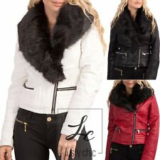 Womens Biker Jacket Ladies Leather Look Detachable Fur Coat Outwear Size 8-14