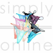3 PACK SEXY LADIES LACE THONGS LOT G-STRING KNICKERS LINGERIE SIZES 6 8 10
