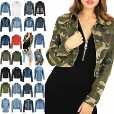 Women Collared Button Down Pockets Ladies Long Sleeve Coat Denim Crop Top Jacket