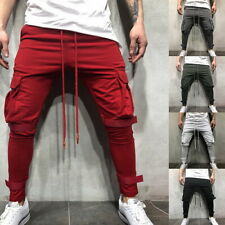 Mens Casual Gym Pant Fitness Workout Pants With Cargo Pockets Joggers Sweatpants