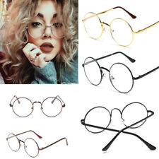 ROUND OVERSIZED GLASSES CLEAR LENS METAL FRAME CIRCLE FASHION LARGE EYEGLASSES