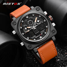 RISTOS Mens Leather Casual Watches Square Quartz Digital Wristwatch 9343
