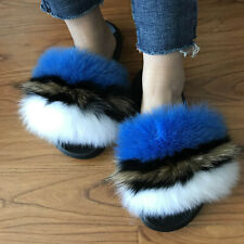 Blue/White/Brown - Multicolor Real Fox Fur Slides Slippers Flat Sandals Shoes