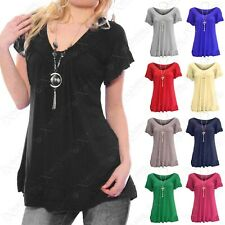 NEW LADIES V-NECK FRILL LAYERED T-SHIRT WOMENS NECKLACE GYPSY LOOK SUMMER TOPS
