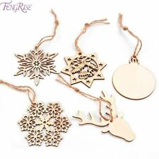 10pcs Christmas Tree Ornaments Snowflake Deer Star Bell DIY Wooden Pendants Chri