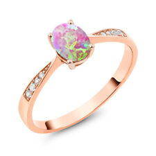 10K Rose Gold Diamond Ring with 0.69 Ct Oval Cabochon Pink Simulated Opal