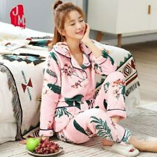 Autumn Women Pyjamas Winter Print Pajama Sets Soft Warm Sleep Wear