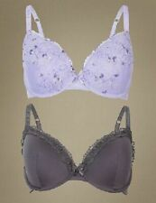 2088d90f9a0 MARKS SPENCER M&S 2 PACK EMBROIDERED PADDED PLUNGE PURPLE BRAS 32 34 ...