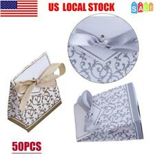 50Pcs Wedding Candy Paper Boxes Romantic Wedding Party Favor Gift Bags w/Ribbon