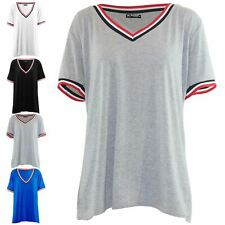 Womens Baggy Ladies V Neck Stripes Short Sleeve Stretchy Oversized T Shirt Top