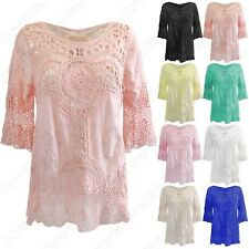 NEW WOMENS CROCHET FLORAL DETAIL TOP SUMMER COVER-UP LADIES COTTON LINEN TUNIC
