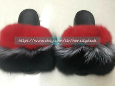 Red Black - Max Large XXL Real Fox Fur Slides Slippers Sandals Shoes Sliders