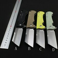 Tanto Folding Knife D2 Blade G10 Handle 58HRC Outdoor Utility Camping Hunting